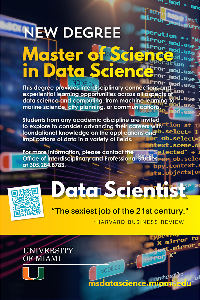 """University of Miami Master of Science in Data Science degree ad 6"""" x 9"""""""